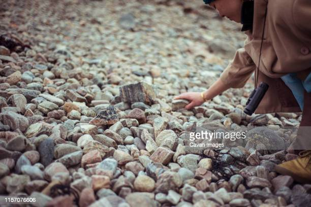 asian girl collects pebbles on stone beach lake in mountains - searching stock pictures, royalty-free photos & images
