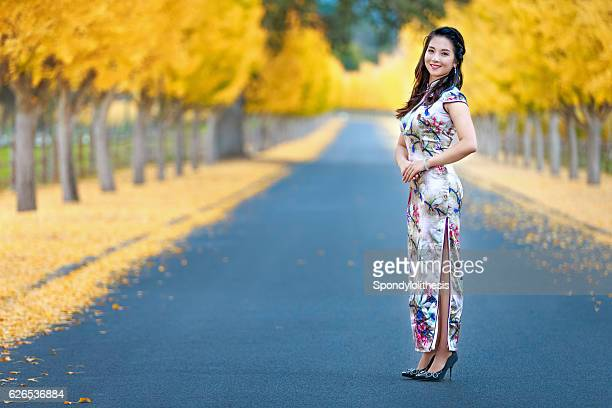 Asian Girl Enjoy the Autumn at Napa Valley, California