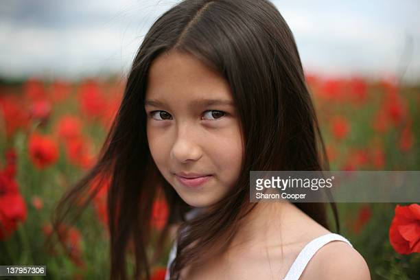 asian girl in poppy field - letchworth garden city stock photos and pictures