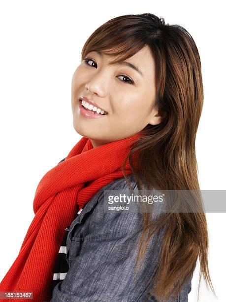 Asian girl smiling in winter clothes