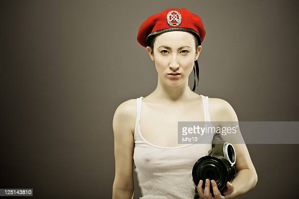 asian girl with gas-mask - mongolian women stock photos and pictures