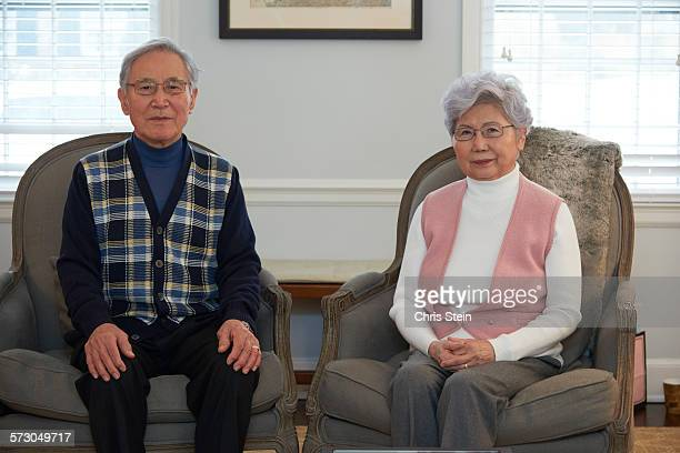asian grandparents portrait - scarsdale stock photos and pictures