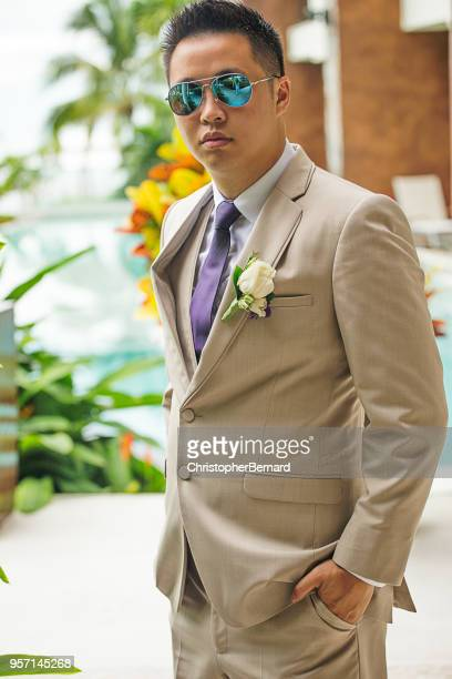 asian groom wearing sunglasses outdoor - purple suit stock pictures, royalty-free photos & images