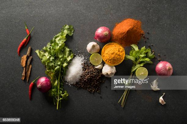 Asian Herbs And Spices On Black Granite.