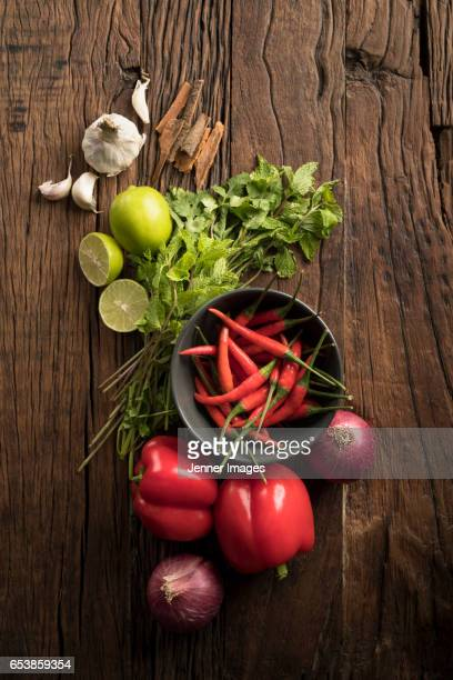 Asian Herbs And Spices On Rustic Wooden Background.