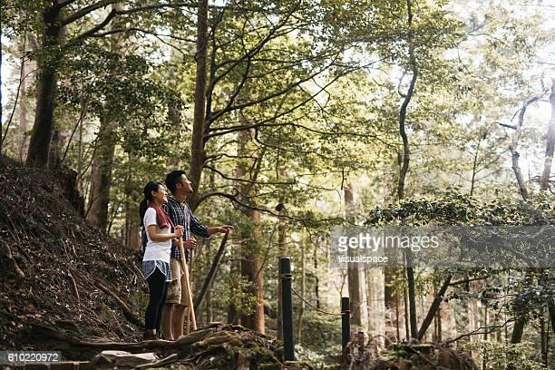Asian Hiker Exploring the Nature
