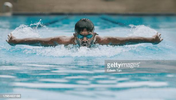 asian indian swimmer swimming and practicing in swimming pool with butterfly style - forward athlete stock pictures, royalty-free photos & images