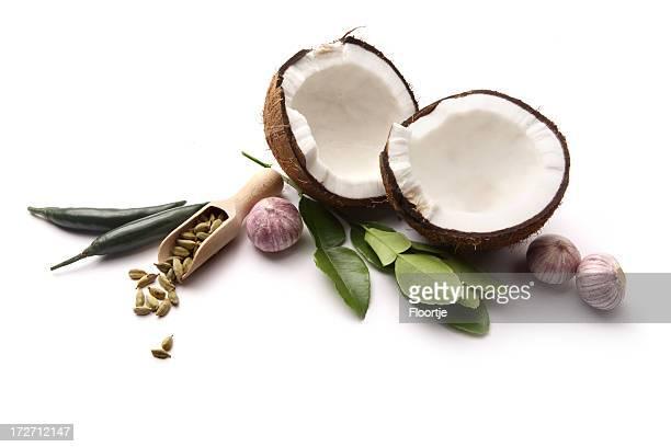 Asian Ingredients: Coconut, Cardamom, Lime Leaf, Garlic, Green Pepper