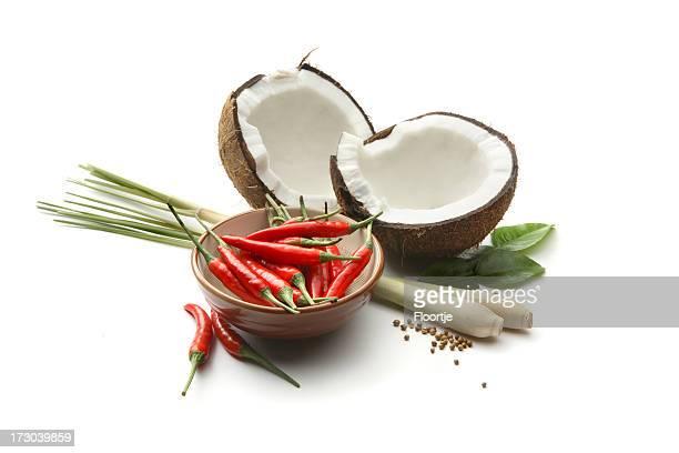 asiático componentes: coconut, pimenta, erva-cidreira - erva cidreira imagens e fotografias de stock