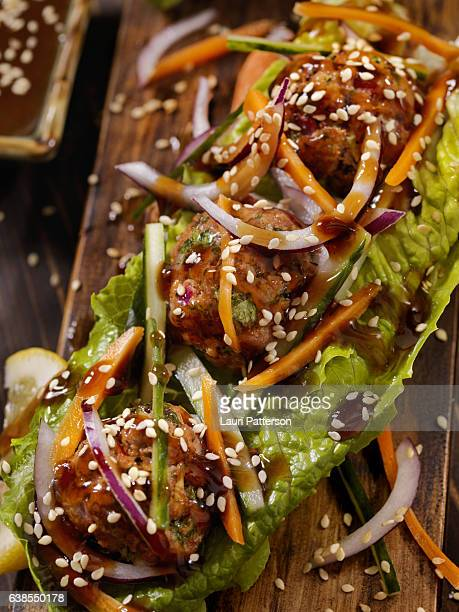 Asian inspired Meatball Lettuce Wrap