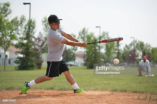 asian male softball player - softball stock pictures, royalty-free photos & images