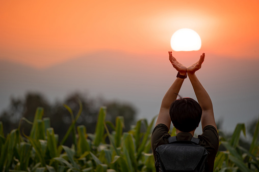 Asian man in corn field raising his arms holding the sun at sunset in summer solstice day. Hope and pray. Achievement concept 1139857146