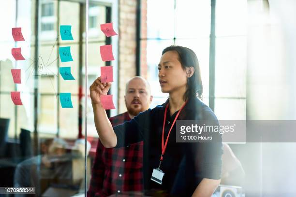 asian man pointing to sticky notes with manager - 集中 ストックフォトと画像