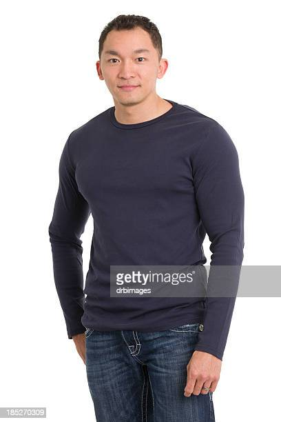 asian man three quarter portrait - long sleeved stock photos and pictures