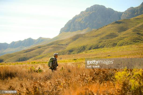 asian man travel at jonkershoek nature reserve, cape town, south africa - nature reserve stock pictures, royalty-free photos & images