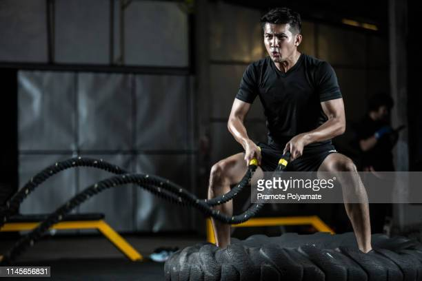 asian man with battle rope battle ropes exercise in the fitness gym, exercises concept. - ロープ ストックフォトと画像