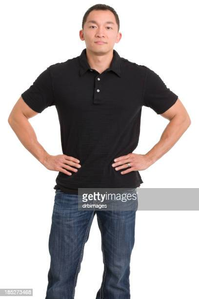 asian man with hands on hips - arms akimbo stock pictures, royalty-free photos & images