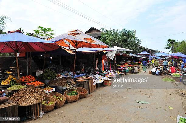 asian market street - myanmar culture stock pictures, royalty-free photos & images