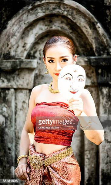 asian mask model - apsara stock photos and pictures