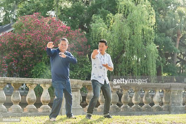 Asian men in park doing tai chi