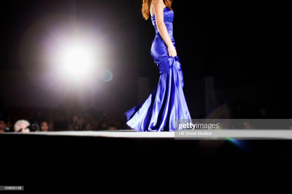 Asian model on fashion runway : Stock Photo