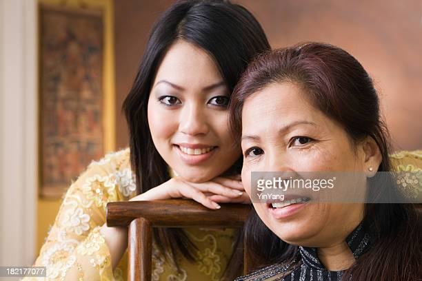 Asian Mother and Daughter Family in Vietnamese Ethnic Traditional Setting