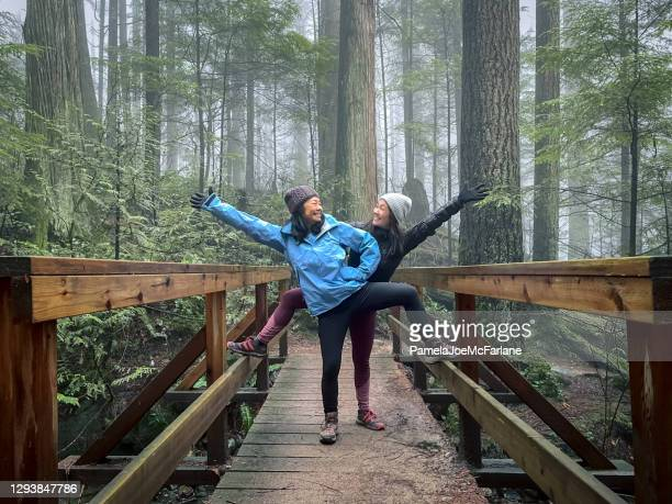 asian mother and eurasian daughter posing on bridge in forest - offbeat stock pictures, royalty-free photos & images
