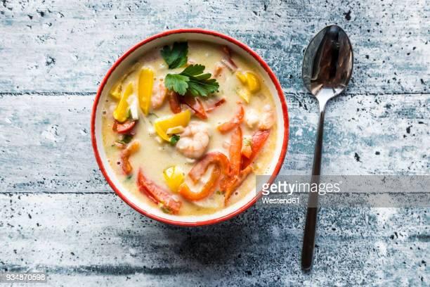 Asian noodle soup with paprika and shrimp