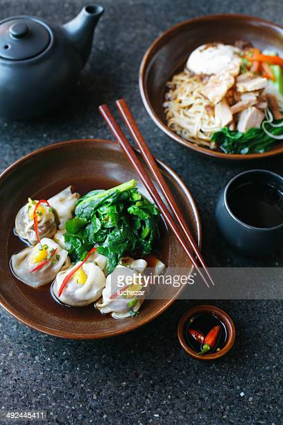 Asian noodles and dumplings