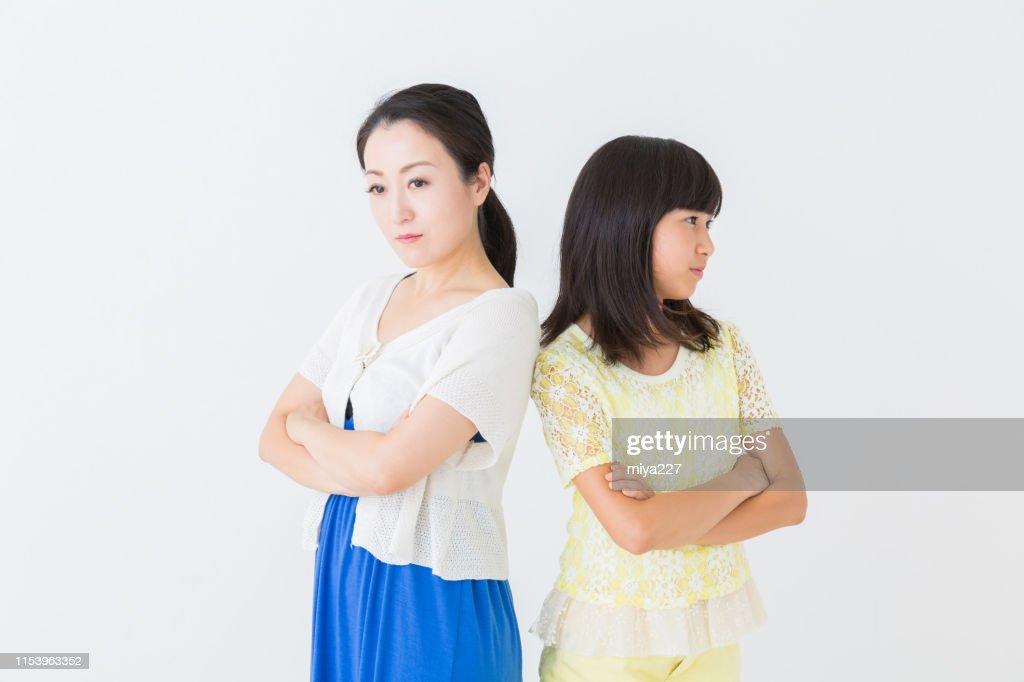 asian parent and daughter : Stock Photo