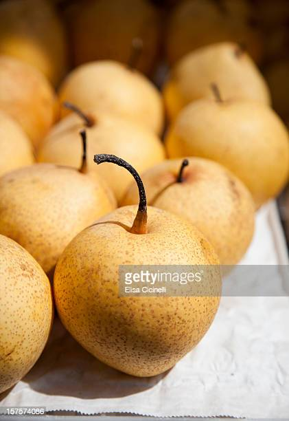Asian pears at a farmers' market
