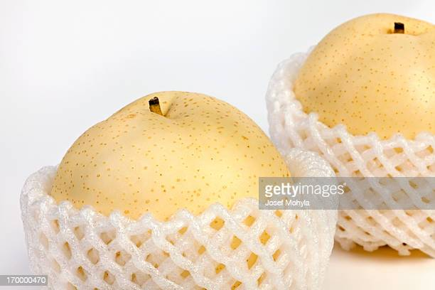 Asian Pears in shipping net