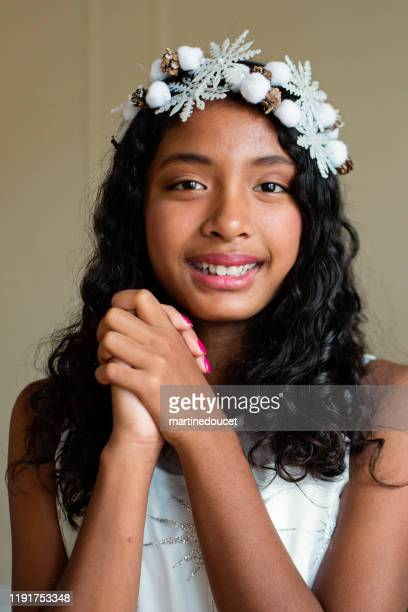 "asian preteen girl holidays portrait. - ""martine doucet"" or martinedoucet stock pictures, royalty-free photos & images"