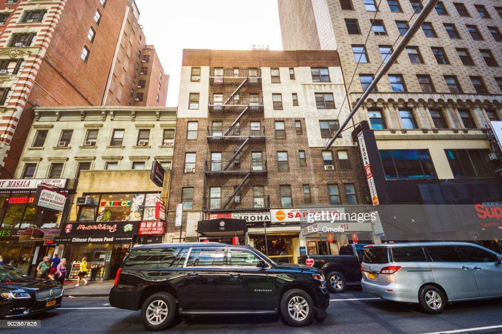 escaleras de la llamarada de restaurante asiático midtown manhattan nueva york street : Foto de stock