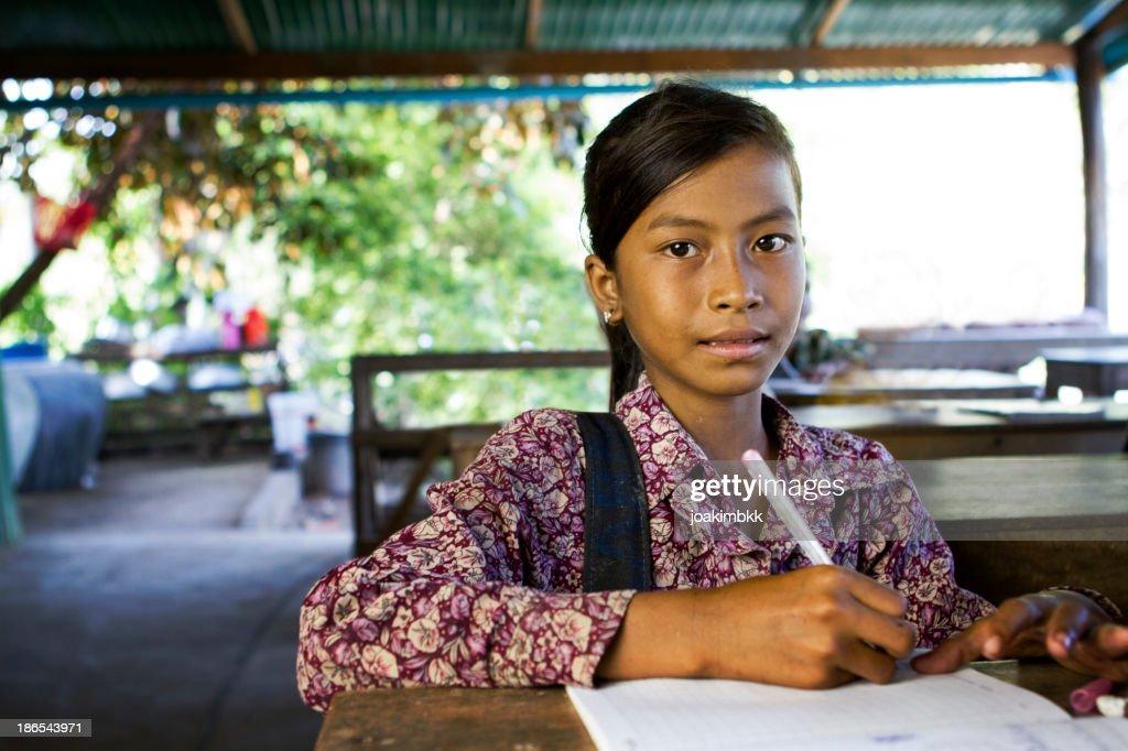 Asian school girl at school : Stock Photo