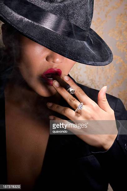 Asian Sexy Young Woman Portrait Smoking Cigar in 30s Fedora