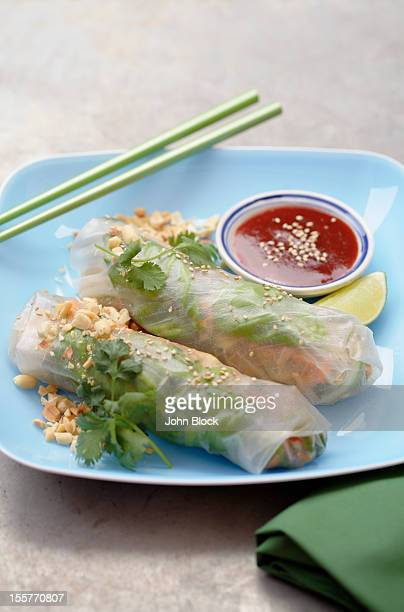 Asian spring rolls in bowl