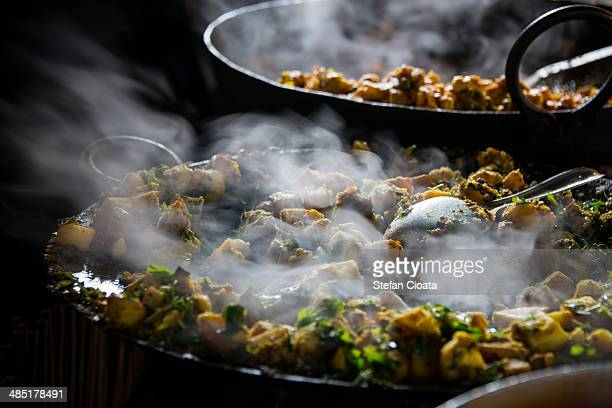 asian steaming food in borough market london - borough market stock pictures, royalty-free photos & images