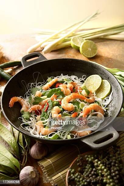 Asian Stills: Stir Fried Shrimps and Noodles in Wok