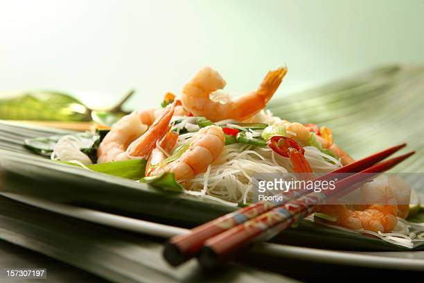 Asian Stills: Stir Fried Shrimps and Noodles on Banana Leaf