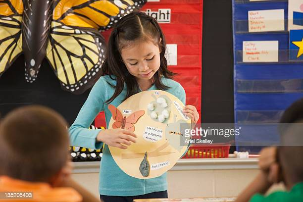 Asian student presenting science project to classroom