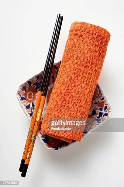Asian table accessories, small bowl, chopsticks and hand towel