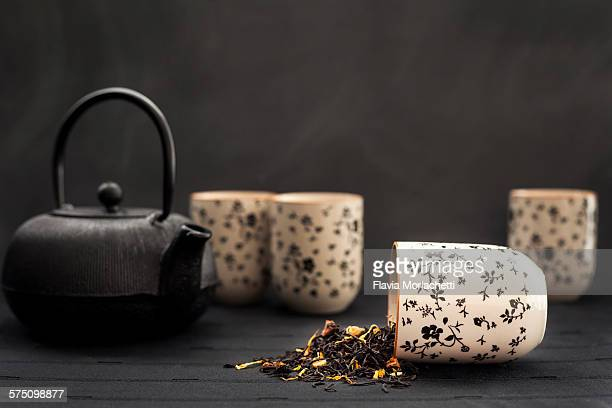 Asian tea set with loose leaf tea blend