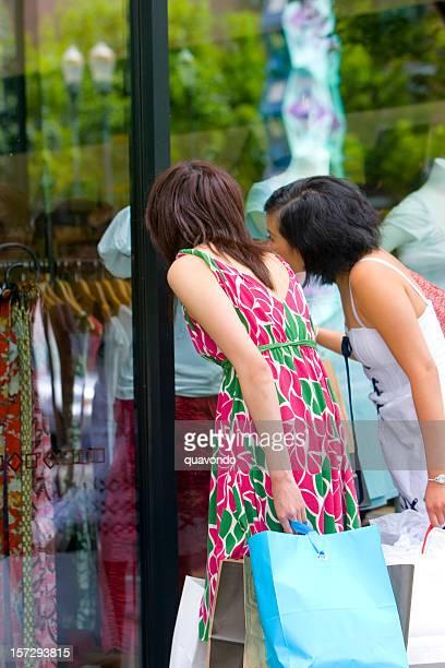 Asian Teenage  Girls Window Shopping Downtown, Copy Space