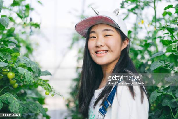 aziatische tiener meisje oogsten verse groenten en kijken naar de camera gelukkig van boerderij - 14 15 jaar stockfoto's en -beelden