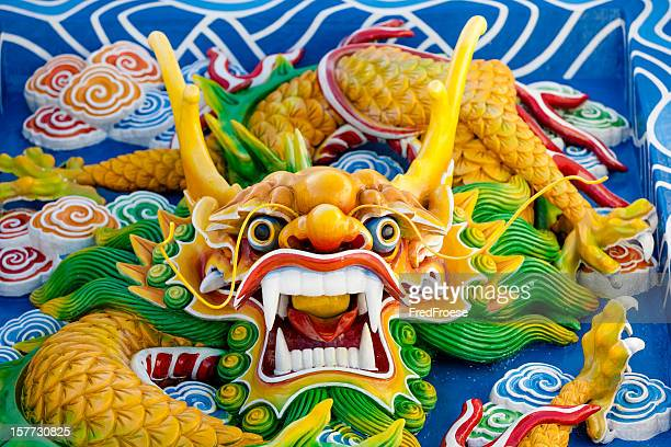asian temple dragon - chinese dragon stock pictures, royalty-free photos & images