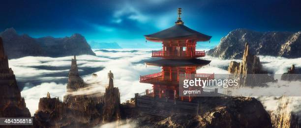 asian temple on mountain top - tempel stockfoto's en -beelden