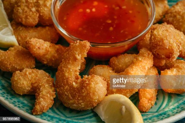 asian tempura shrimps with sweet chili sauce - japanese food stock pictures, royalty-free photos & images