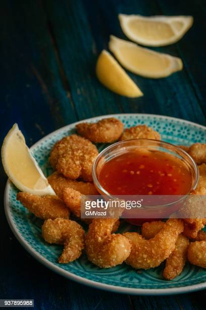 asian tempura shrimps with sweet chili sauce - breaded stock photos and pictures