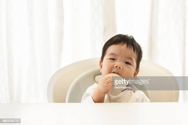 Asian toddler eating cookies.
